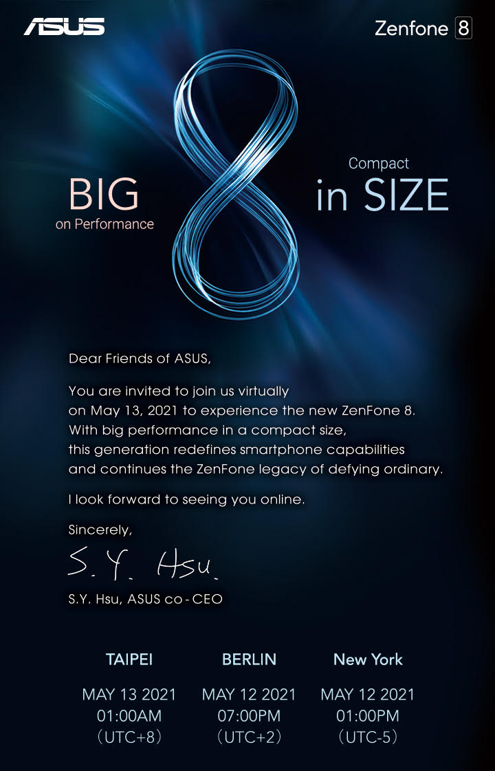 華碩宣布5/13發表ASUS ZenFone 8