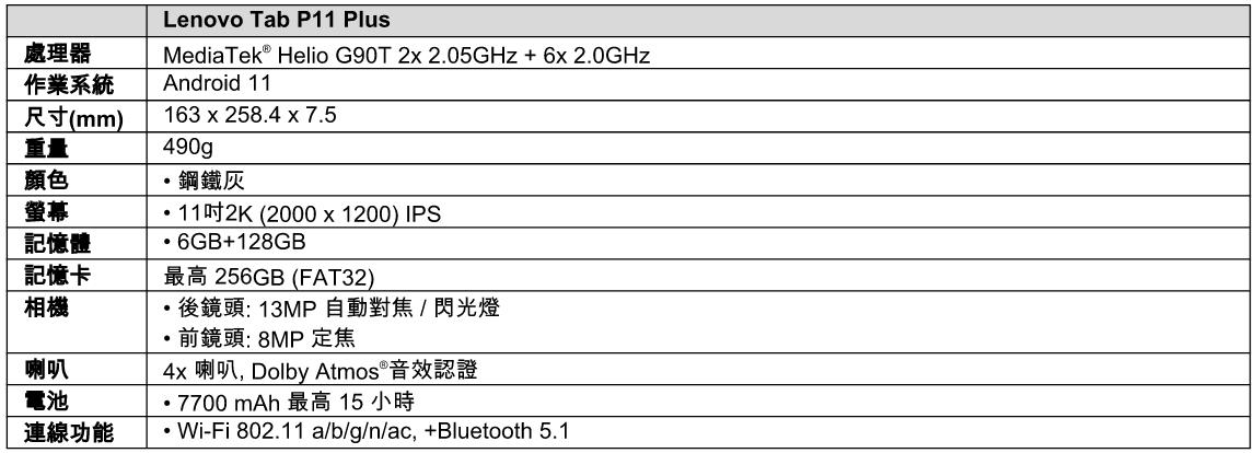 Lenovo Tab P11 Plus平板在台推出,強調輕薄機身與生產力